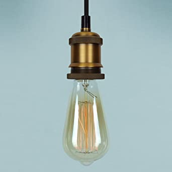 Vintage pendant light kit antique industrial brass finish lamp vintage pendant light kit antique industrial brass finish lamp holder fabric cord aloadofball Gallery