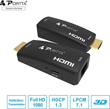HDMI Extender Over Single CAT5e CAT6 RJ45 Ethernet LAN Cable Full HD 1080p 50M