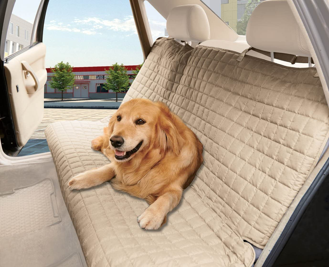MattRest Quilted 100 Waterproof Premium Quality Bench Car Seat Protector Cover Entire Rear Seat for Pets – Ties to Stop Slipping Off The Bench