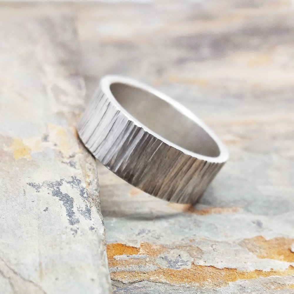 wide statement ring Impressive ring tree bark ring Wide band