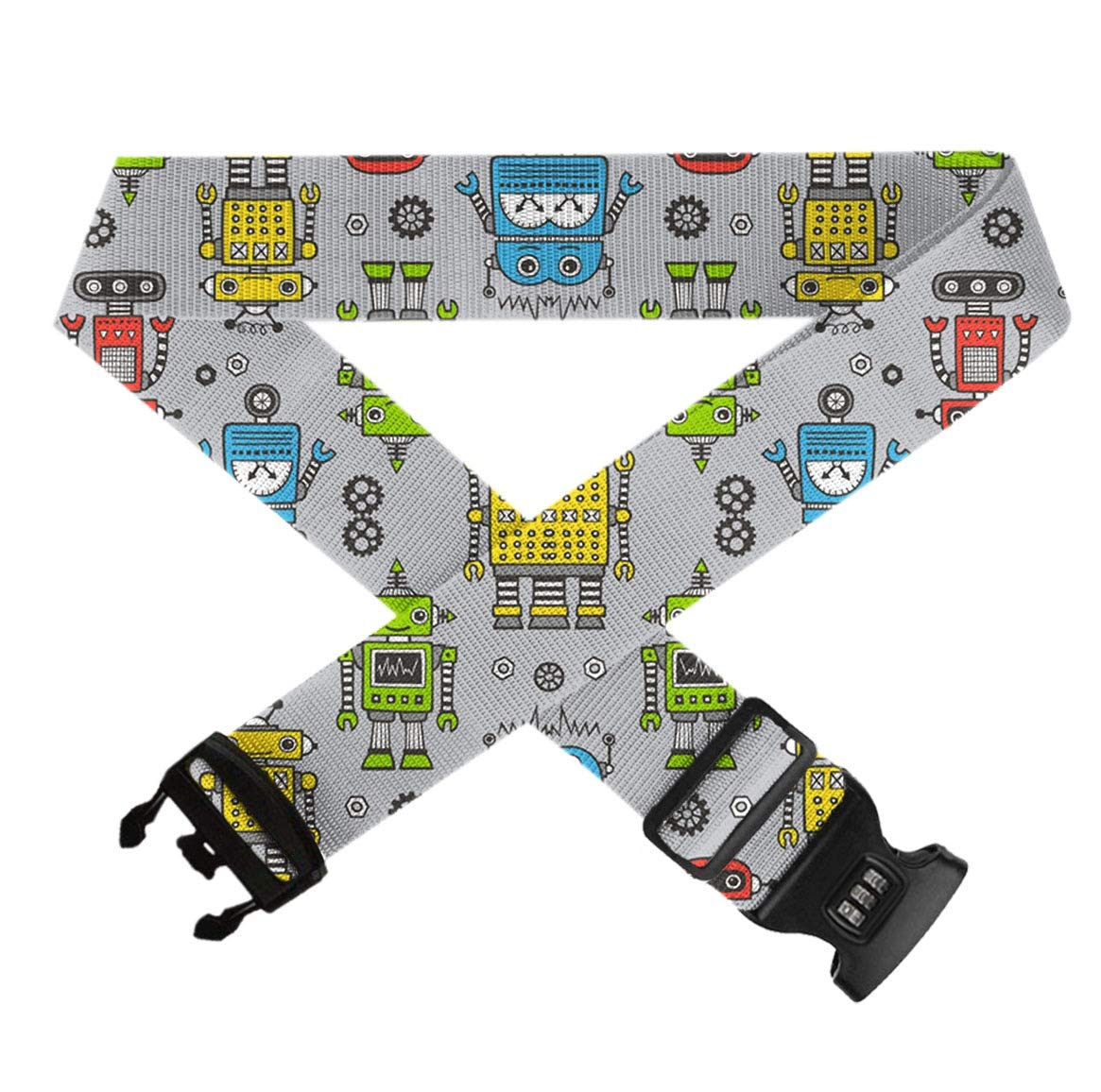 Retro Robot Trippy Art Extra Long Luggage Strap Elastic Adjustable Length Suitcase Belts With Combination Lock And Buckle Closure Travel Belts Accessories 1 Pack