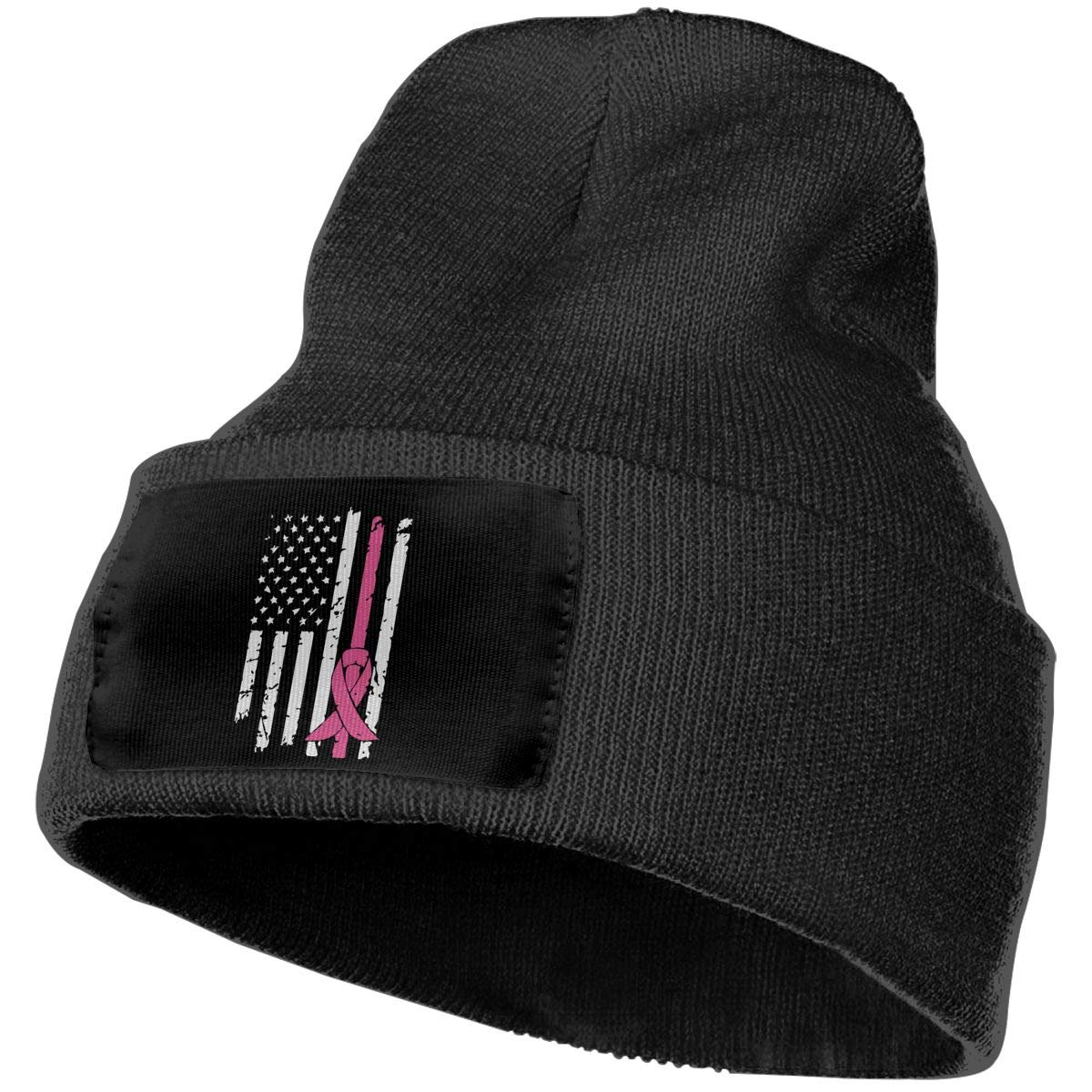 COLLJL-8 Unisex Breast Cancer Awareness Flag Outdoor Warm Knit Beanies Hat Soft Winter Knit Caps