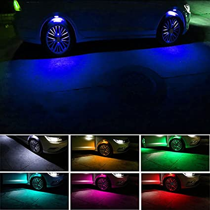 HENGJIA Car Wheel Lights With APP Control,4PCS 7 Color Car Styling Strobe  LED Multicolor