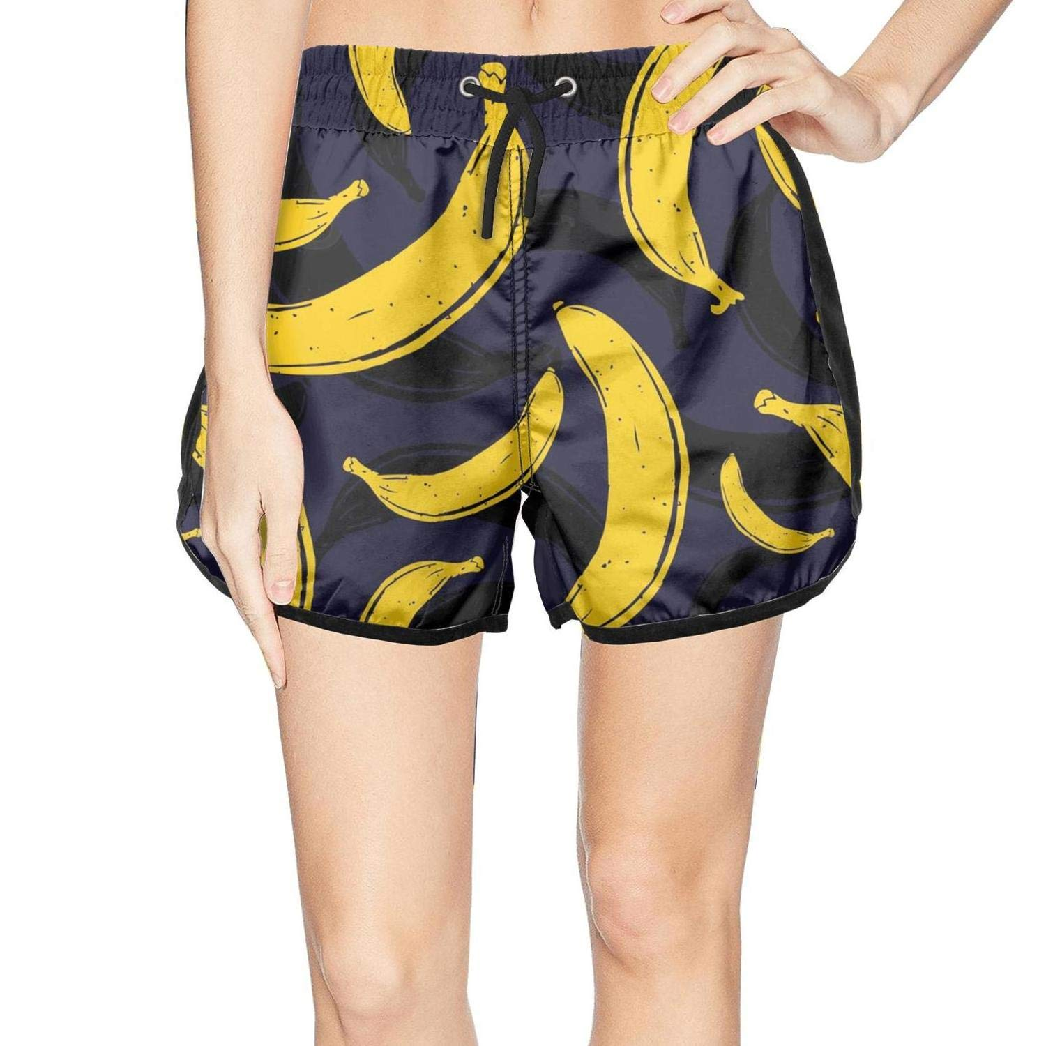 XULANG Women's Pop Art Banana Black Pattern Swimming Trunks Jogging Swimsuits Casual Sport Boardshorts