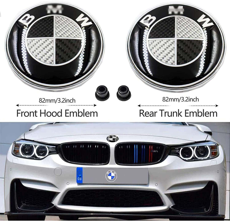 CZYNB 2 Piezas de 82 mm Negro y Negro cap/ó y el Maletero del Emblema con 2 Ojales de Repuesto for B M W X3 X5 X6 3 4 5 6 7 8 Series 325I 328I E46 E30 E36 E34 E38 E39 E60 E65 E90