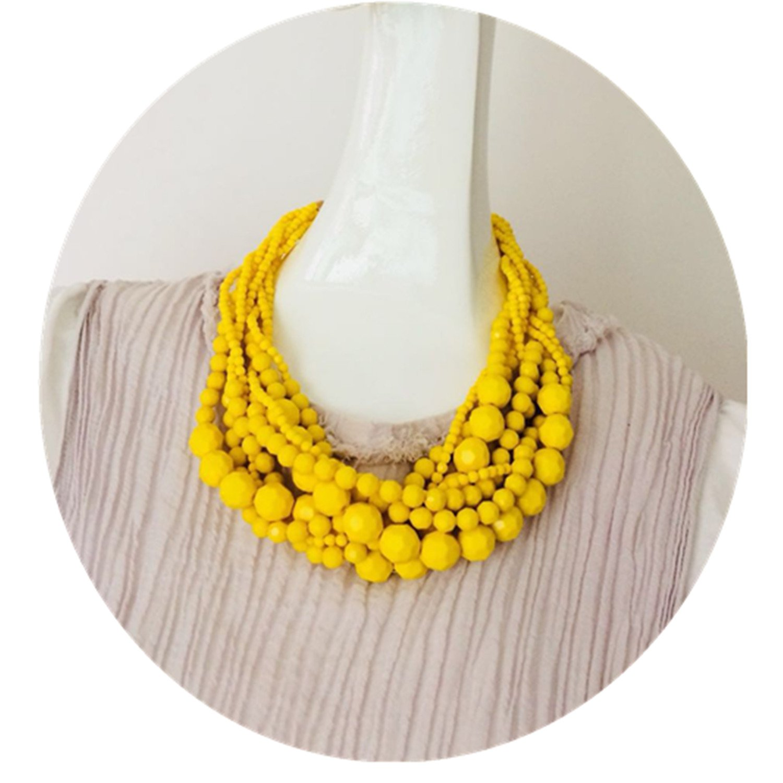 Dot & Line Lemon yellow ball beads multi-strands statement collar necklace