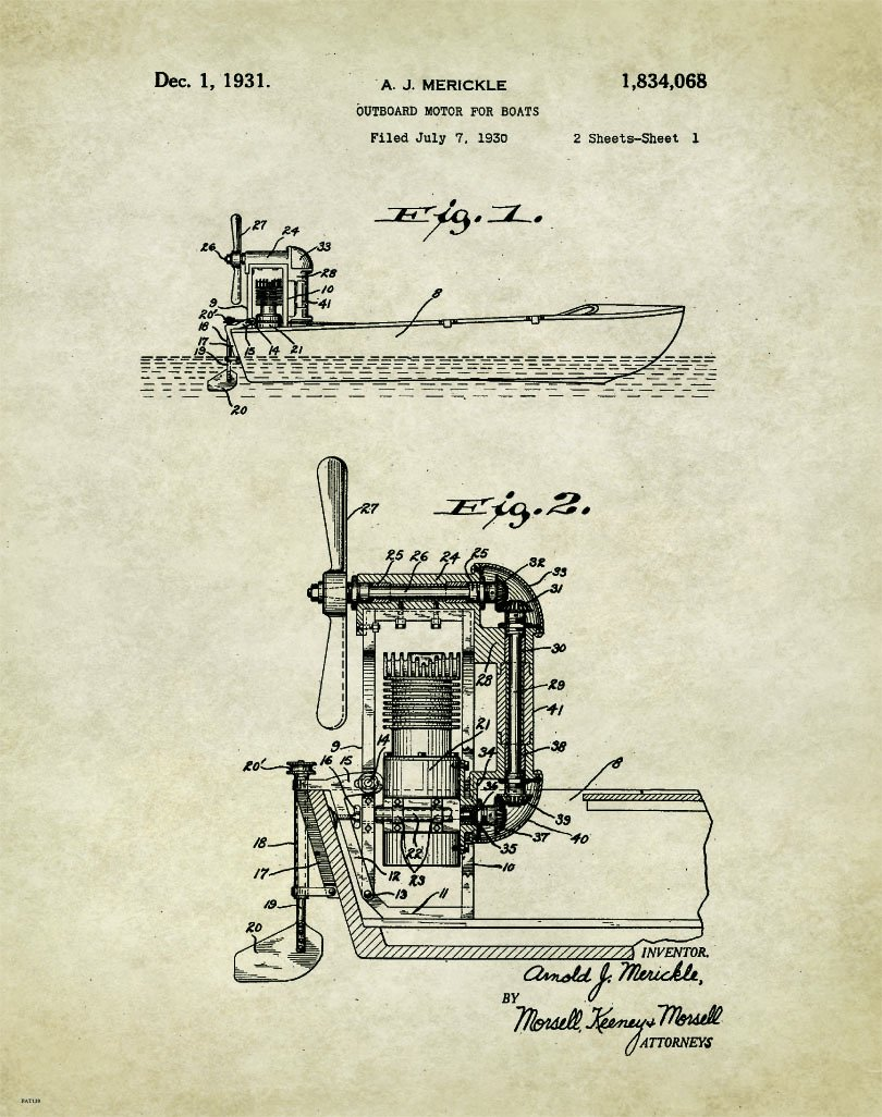 Amazon.com: Antique Air Boat Motor Patent Poster Art ... on