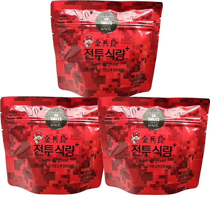 Korean MRE Military Food Gift Bibimbap Spicy Beef Rice Food Rations Combat Surplus (120g/pack)