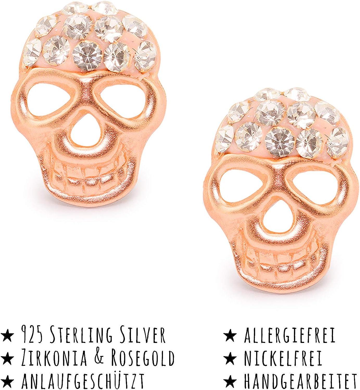 Monkimau Boucles doreilles en forme de t/ête de mort en argent sterling 925 v/éritable avec 22 cristaux Plaqu/é or rose