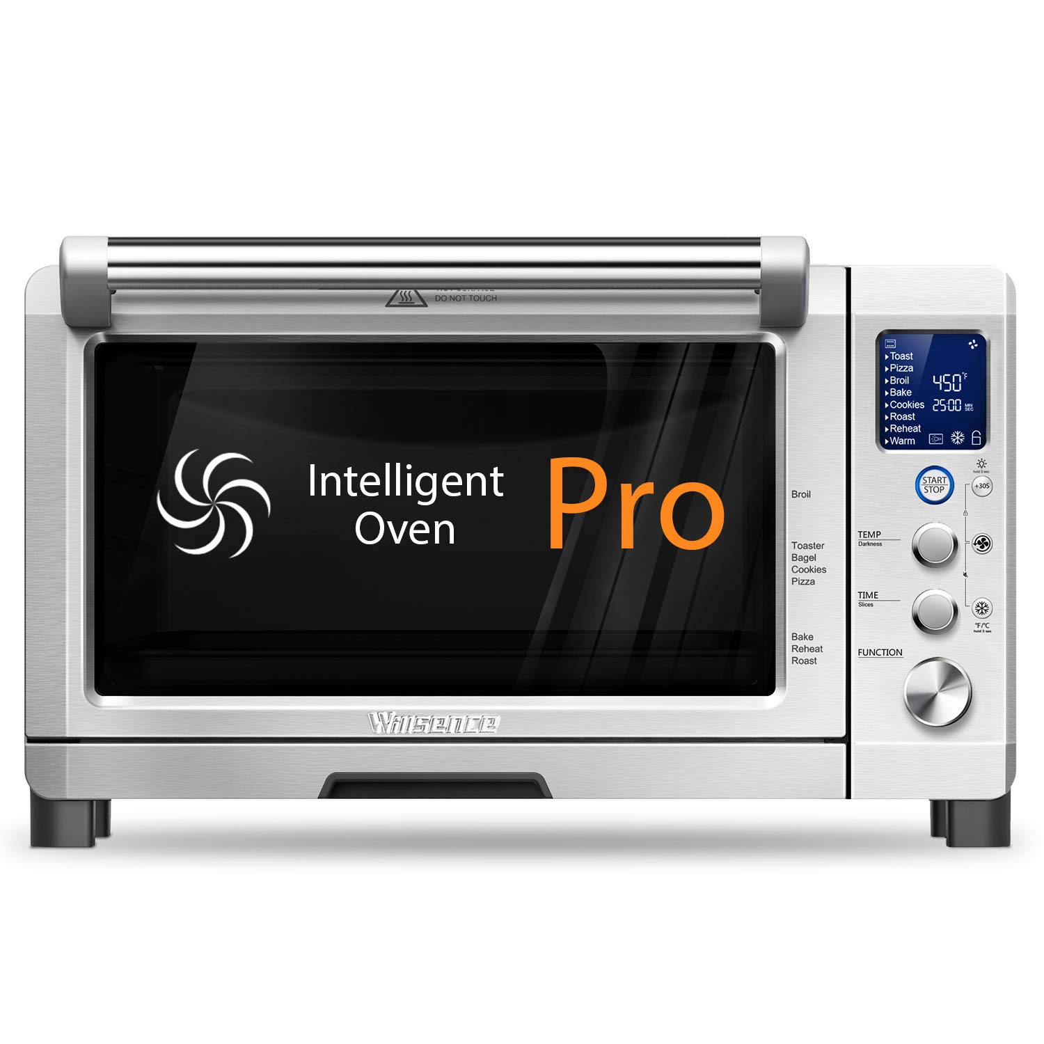 Toaster Oven Willsence Convection Toaster Oven with LCD Display and Element IQ, 6 Slice Toaster Oven with 9 Pre-set Cooking Functions, Brushed Stainless Steel,1800W