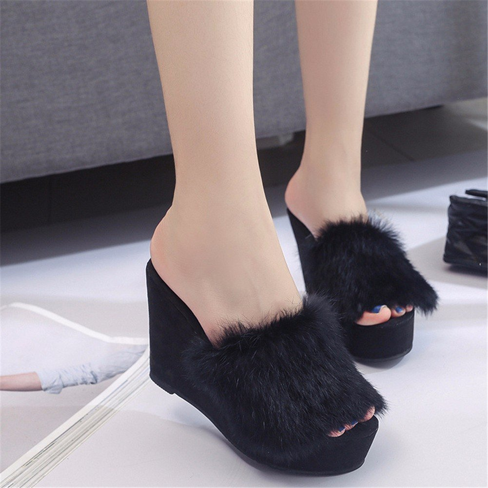 DIDIDD Ladies Slippers Slope with Thick Bottom Hair outside to Keep Warm