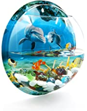 uxcell® Acrylic Wall Mounted Hanging Fishbowl Plant Bubble Bowl 10.2inch Dia/1.2 Gallon Fish Tank