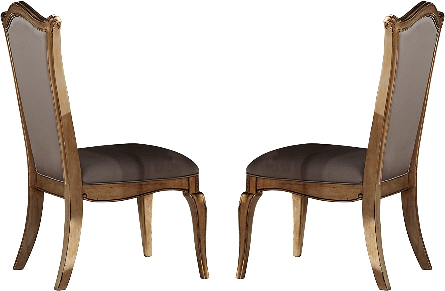 Amazon Com Homelegance Chambord Dining Chair Set Of 2 Antique Gold Chairs