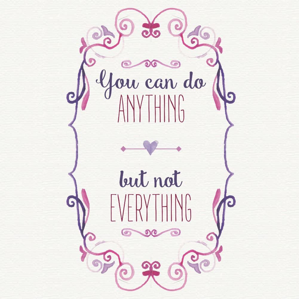 12x12 6 Pack Aluminum You Can Do Anything But Not Everything Quote Watercolor Paint Heart Swirl Motivation Square Sign
