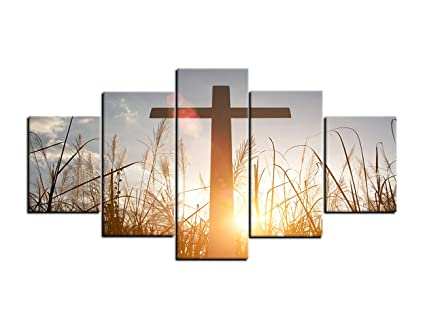 AMEMNY Christian Cross Wall Art Canvas Painting Print Poster 5 Panel The On Green Grass