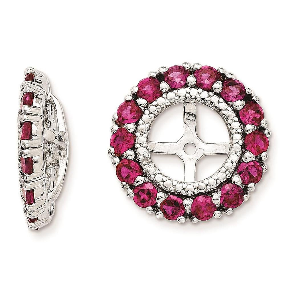 925 Sterling Silver Rhodium-plated Polished /& Textured Created-Ruby /& Diamond Earring Jacket