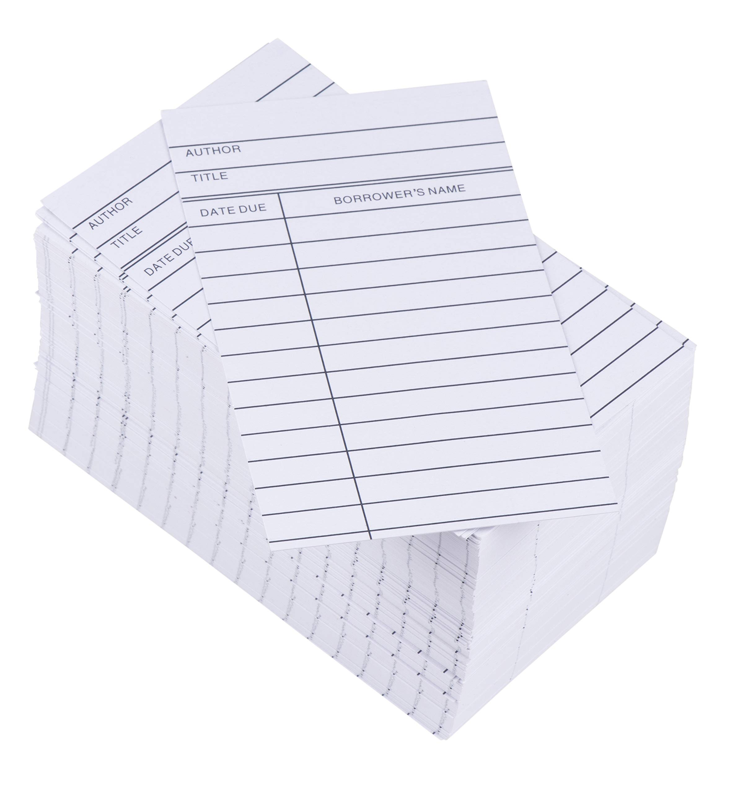 Library Cards - 250-Count Library Checkout Cards, Due Date Note Cards for School, Public Library Record Keeping, Tracking, Book Borrowing, White, 3 x 5 Inches