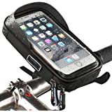 Supporto per telefono impermeabile da bicicletta con cornice trasparente touch screen, resistente all'acqua, custodia girevole a 360° per smartphone, cellulari, navigatori satellitari, GPS, 15,2cm per iPhone 6Plus, 6S, 7S Plus, Samsung Galaxy S4,S5,S6,S7,S8Plus, Sony Xperia Z3,Z4,Z5Plus, 3ZTE, Axon 7,LG G5,G6,G4,Honor 8