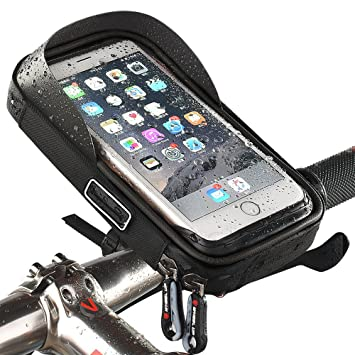Funda soporte para bicicleta resistente al agua para móvil ciclismo marco bolsa transparente táctil giratoria 360 grados para smartphone, teléfono ...