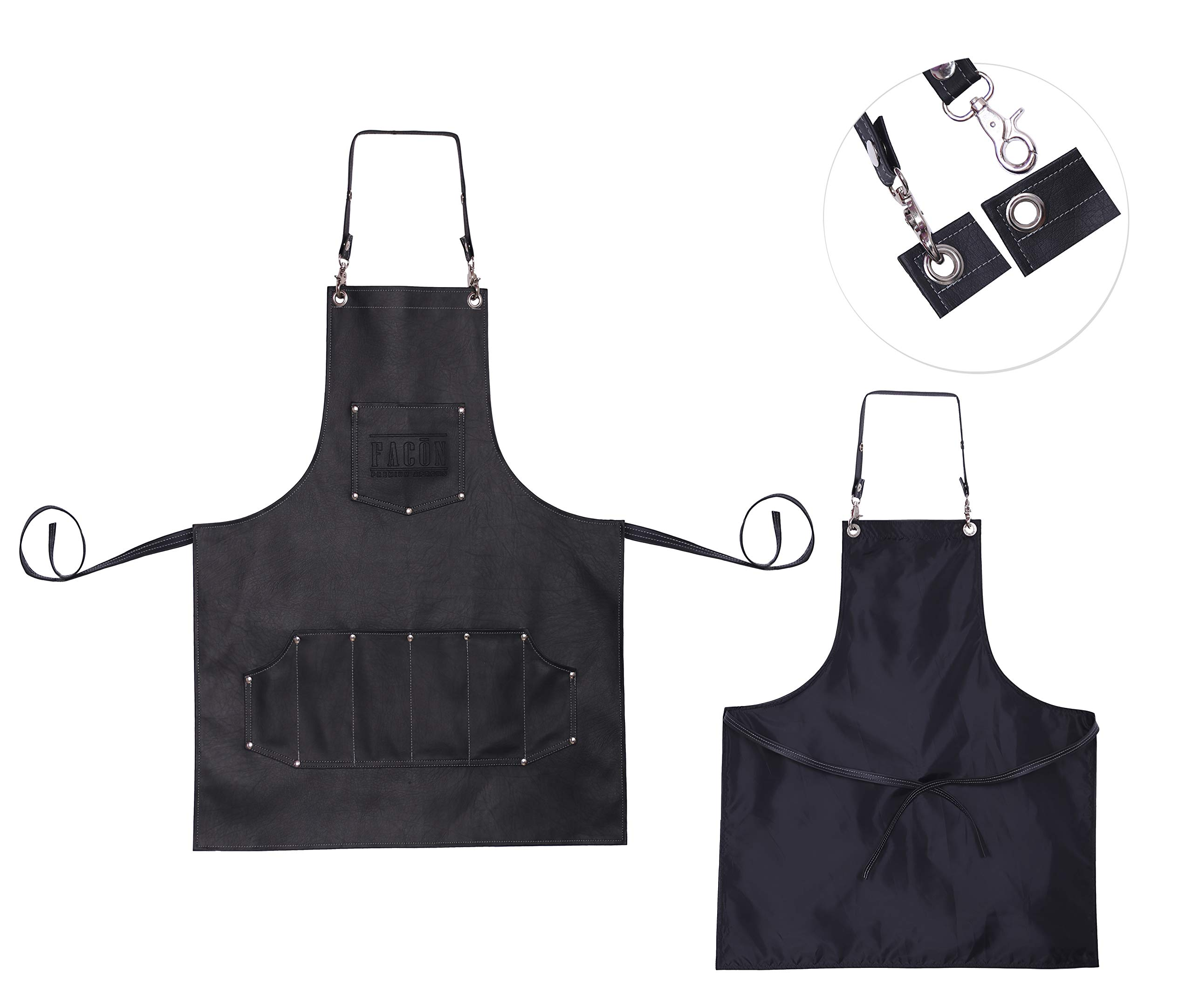 Facón Professional Leather Hair Cutting Hairdressing Barber Apron Cape for Salon Hairstylist - Multi-use, Adjustable with 7 Pockets - Heavy Duty Premium Quality - Limited Edition - 30'' x 24'' (Black) by FACON (Image #8)