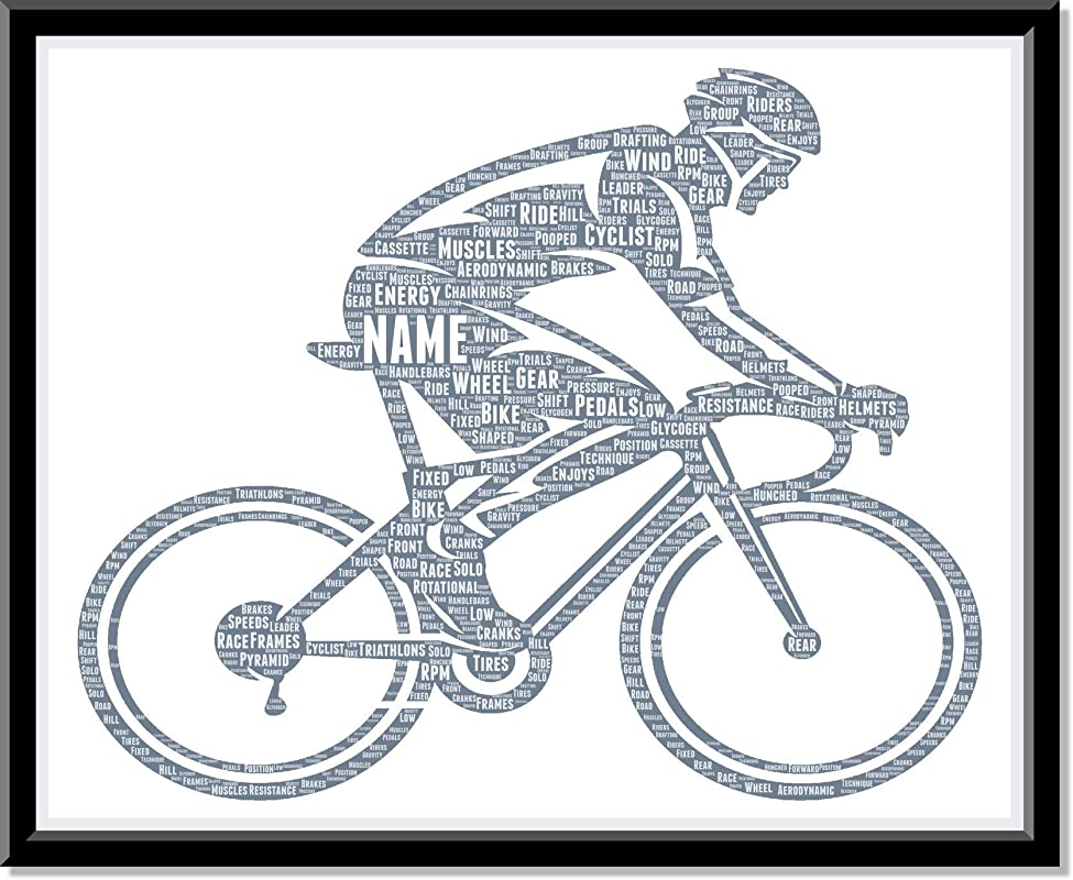 Personalized Cyclist Gifts for Men - Customized Birthday Gift for him, Bike rider, Cycling Decor for Home - Custom Typography Prints…