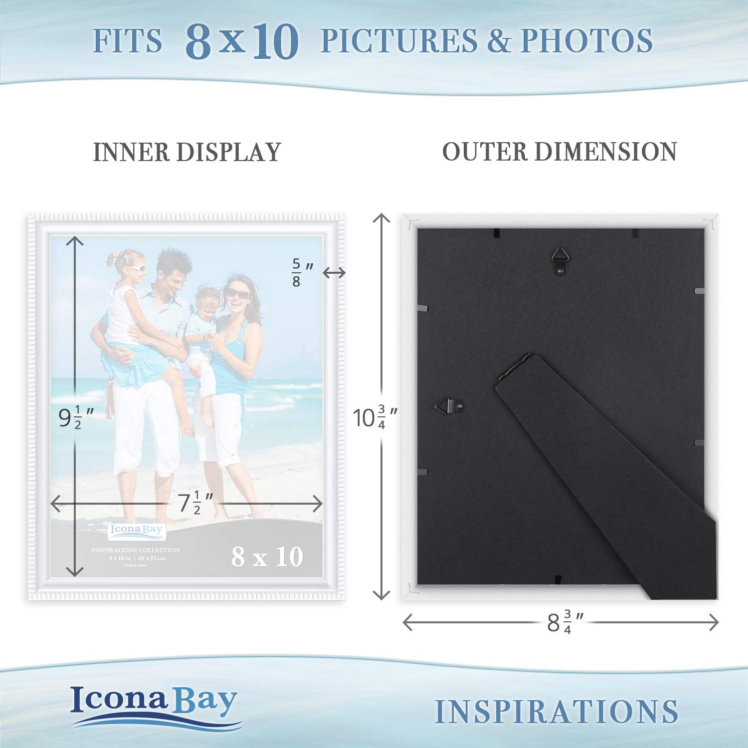 Icona Bay 8x10 Picture Frames (6 Pack, White) Picture Frame Set, Wall Mount or Table Top, Set of 6 Inspirations Collection by Icona Bay (Image #5)