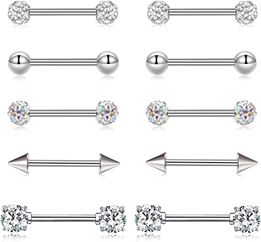 2 Pc Lined CZ Star Nipple Rings Barbell Body Piercing Jewelry