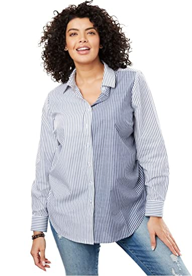 43ab980b32 Woman Within Plus Size Perfect Button Down Shirt - Evening Blue ...
