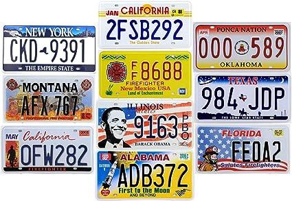 Old1+Old2 avec Effet Vieilli Lot de 10 PLAQUES D IMMATRICULATION de Voiture USA en m/étal r/épliques de Vraies plaques am/éricaines