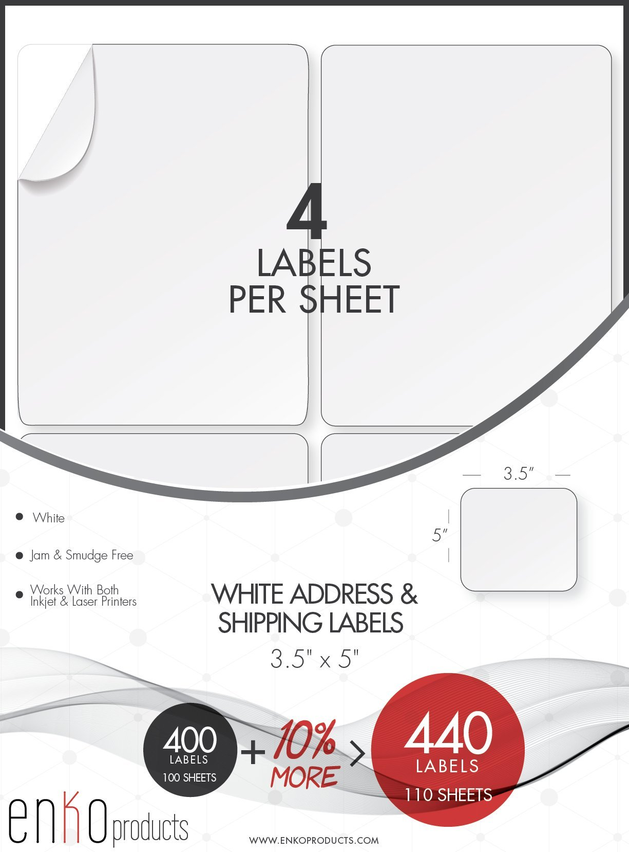 enKo 440 Labels, 3-1/2'' x 5'' Inches - White - Address, Mailing, Shipping & Barcode Labels for Laser and Inkjet Printers (Self Adhesive)