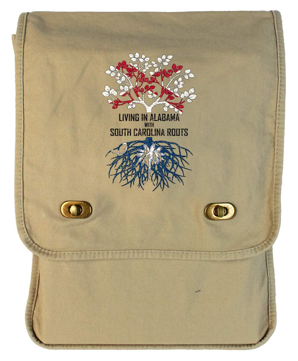 Tenacitee Living In Alabama with South Carolina Roots Grey Brushed Canvas Messenger Bag