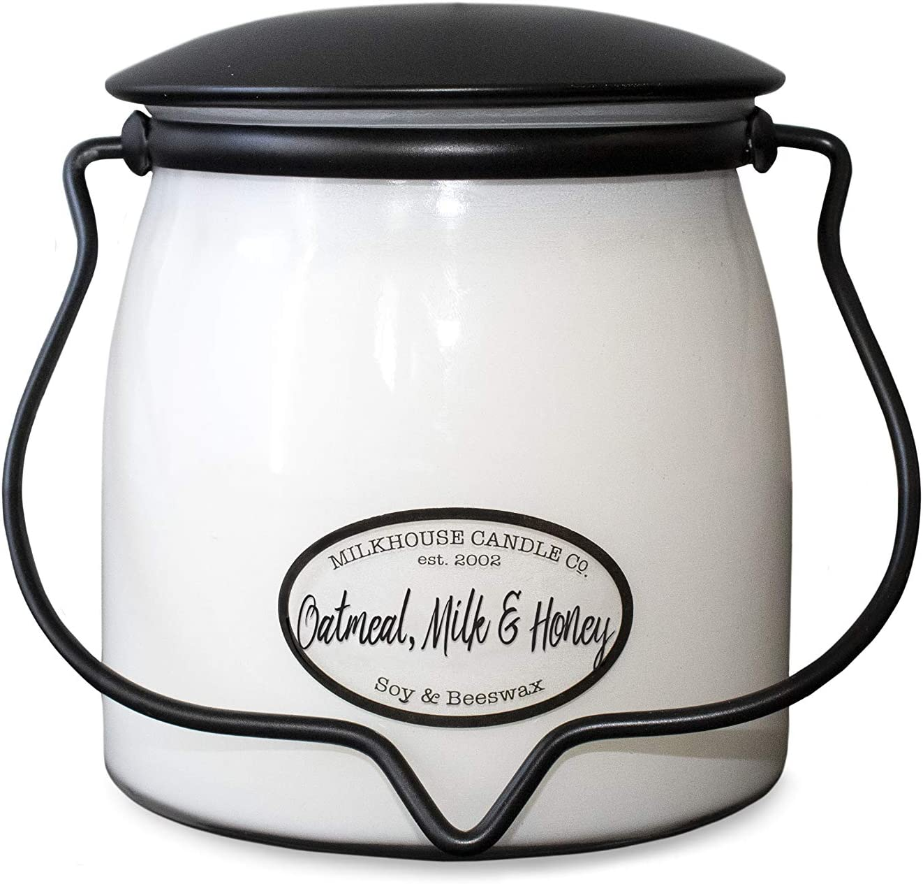 Milkhouse Candle Company, Creamery Scented Soy Candle: Butter Jar Candle, Oatmeal, Milk & Honey, 16-Ounce