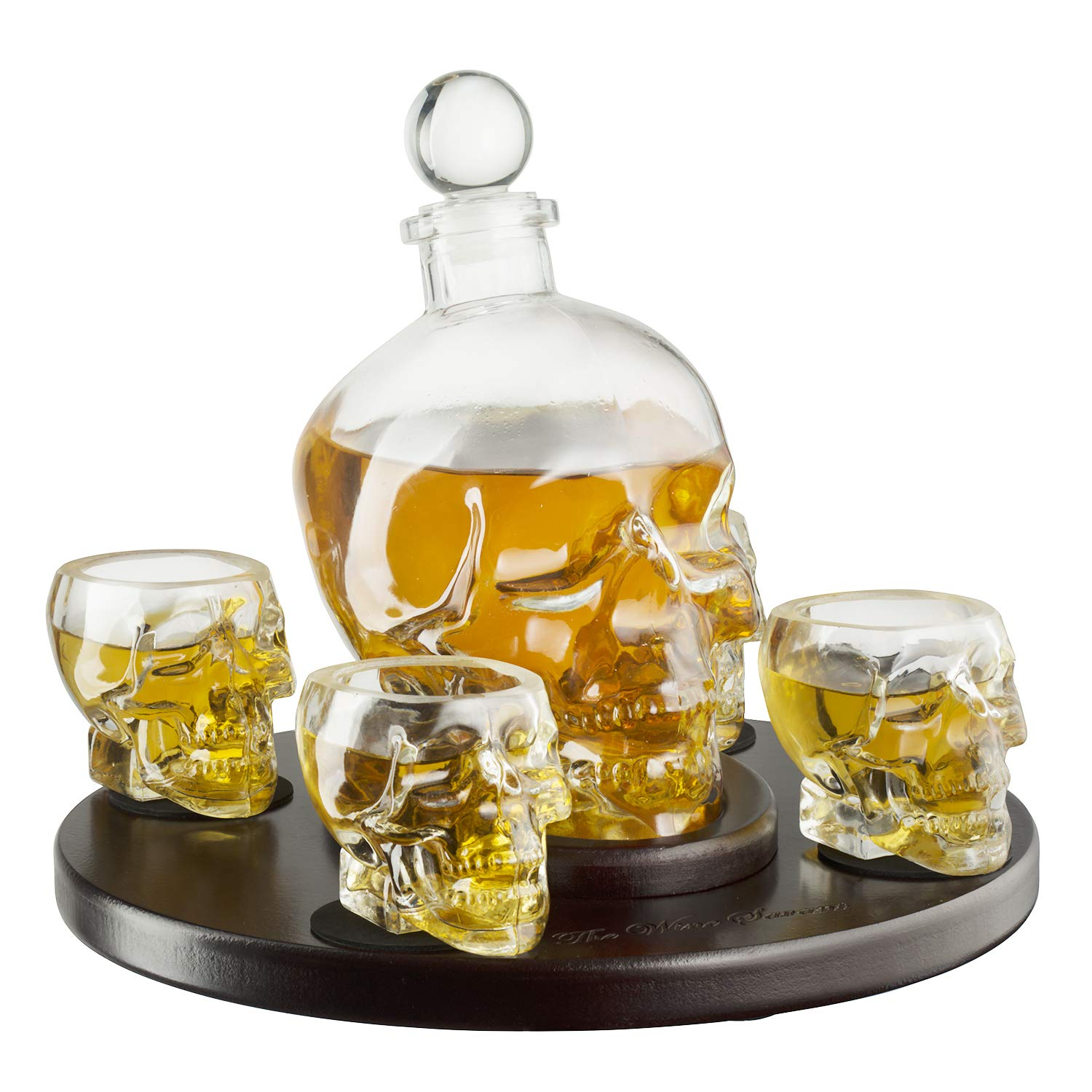 Large Skull Face Decanter with 4 Skull Shot Glasses and Beautiful Wooden Base - By The Wine Savant Use Skull Head Cup For A Whiskey, Scotch and Vodka Shot Glass, 25 Ounce Decanter 3 Ounces Shot Glass by The Wine Savant