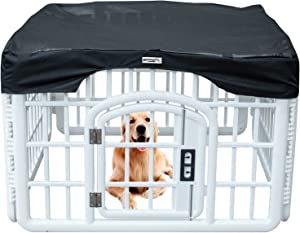 Dog Playpen Mesh Top Cover Prevent Pet Escape Provide Shade Durable Mesh Fabric Top Cover, Portable Foldable Washable Dog Pen Cover, Fits All 24 Inch Wide Pen with 8 Panels (Playpen Not Included!)
