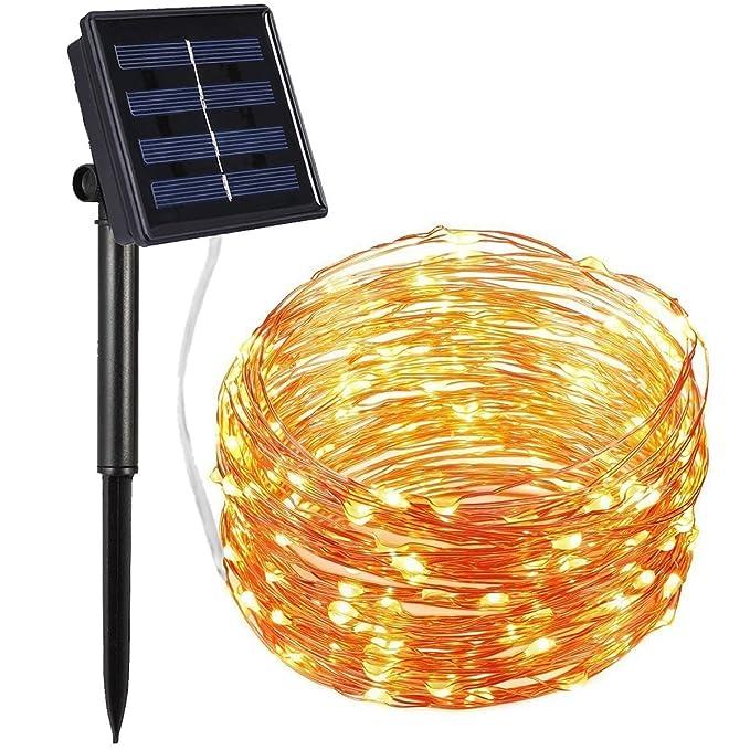 DeepDream Solar Lichterkette Kupferdraht Aussen Warmweiß 200 LEDs 20 Meter, 8 Modi IP65 Wasserdichte, Innen und Außen Weihnac