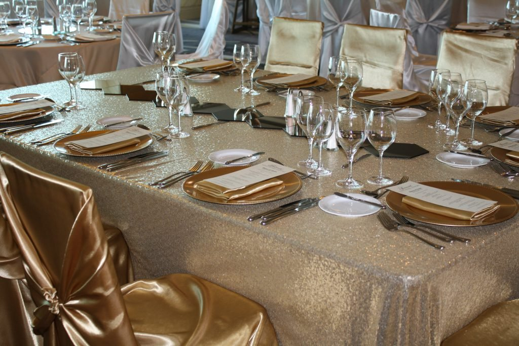 Spring Rose(TM) 50 Gold Satin Universal Chair Covers by Spring Rose