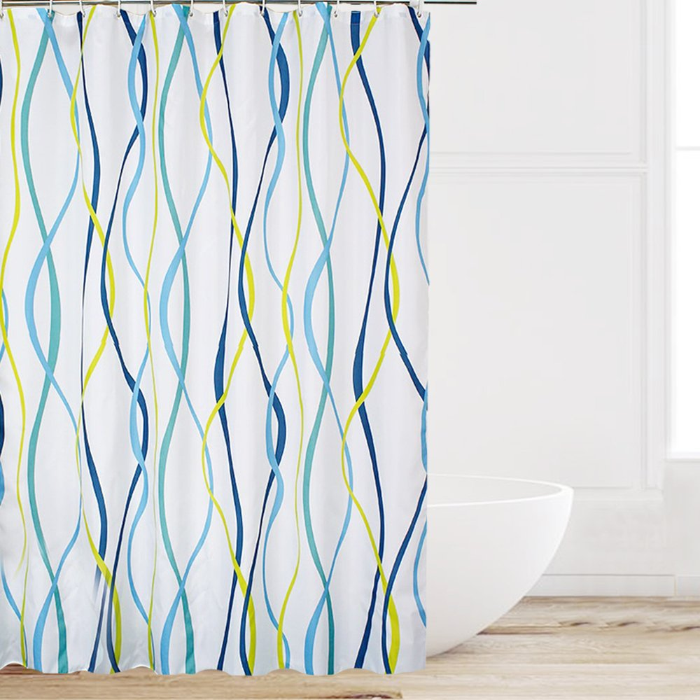 Eforcurtain Home Fashion Blue/Yellow Sea Wave Stripes on White Bath Curtains Water Repellent Mold Resistant, Durable Polyester Shower Curtain with Free Rings, Standard Size 72 by 72-Inch