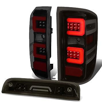 FIT 14-17 SILVERADO//SIERRA LED C-BAR TAIL LIGHT+3D THIRD BRAKE//CARGO LAMP CHROME