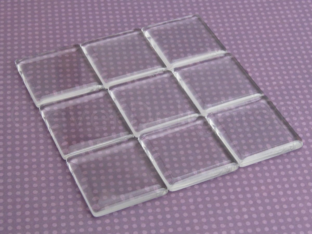 - 2 Flat Sides 30mm 1 3//16 CleverDelights Clear Square Glass Tiles 20 Pack