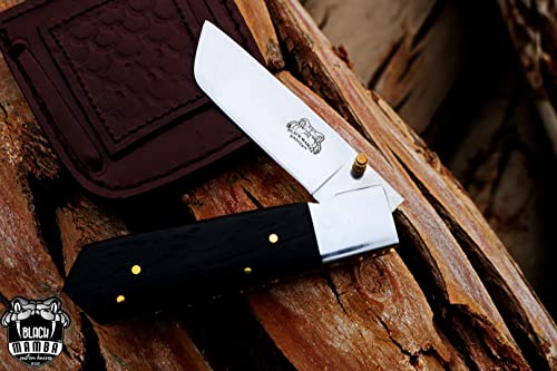 Black Mamba Knives BMK-402 Black Scorpion 8 Long 4 Blade 6 Ounce 440c High Mirror Polished Pocket Knives Handmade Damascus Pocket Folding Knife With Leather Cover Hand Made Word Class Knives