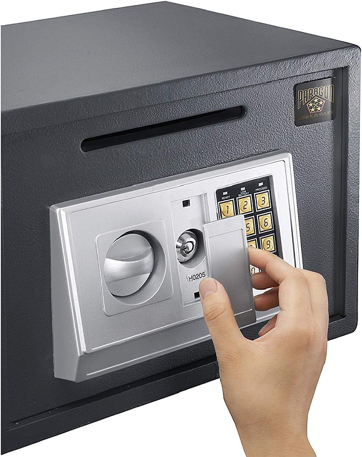 16 Litre Volume Home Digital Safes Electronic Heavy Duty Key Operated Security Money Cash Safe Box Grey Large w// 2 keys