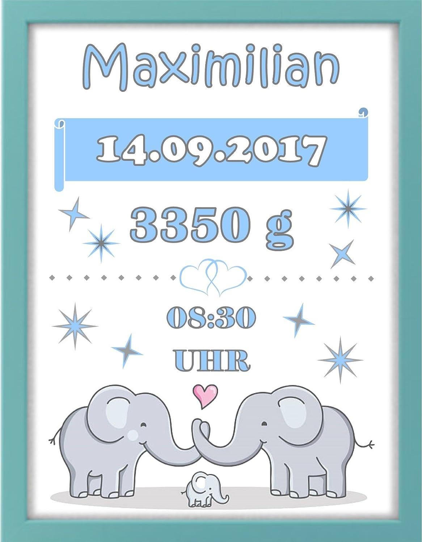 mint//grau Elefant Geschenk Bilderrahmen personalisiert Geburt Taufe