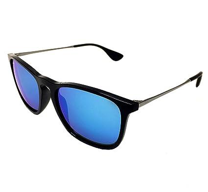 1fd2cb2ba2 New Ray Ban Chris RB4187 601 55 Black  Blue Mirror 54mm Sunglasses   Amazon.co.uk  Clothing