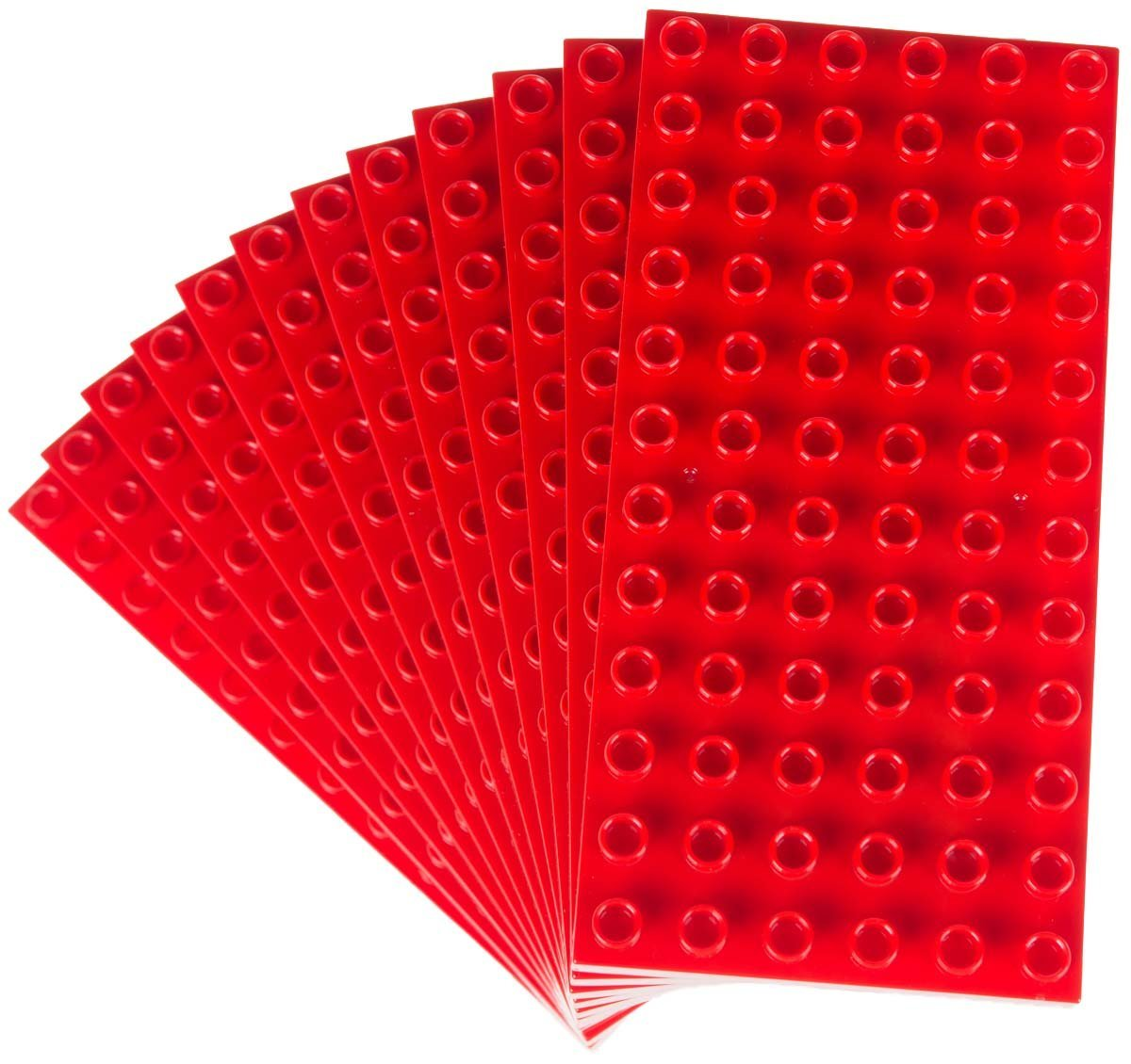 """Classic Big Briks Baseplates by Strictly Bricks   Premium 7.5"""" x 3.75"""" Large Brick Building Base Plates   100% Compatible with All Major Large Brick Brands   12 Stackable Baseplates: Red Review"""