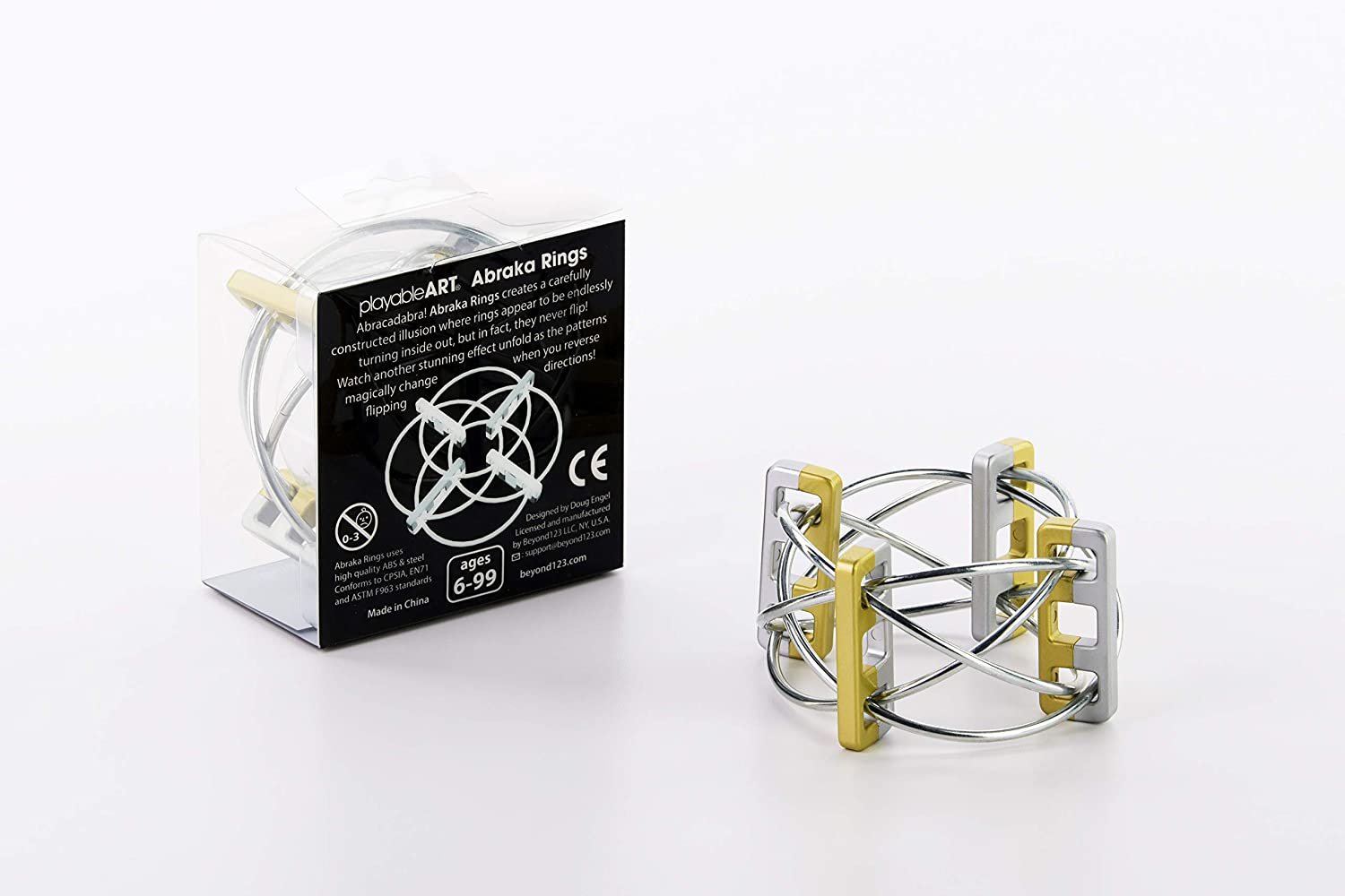 Magical Pattern Changing Desk Toy Best Fidgeting Ring Endlessly Turning Optical Illusion Gold//Silver Playable Art Abraka Rings