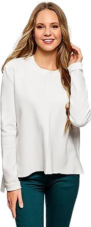 oodji Collection Mujer Jersey con Cuello Redondo y Parte Inferior Asimétrica