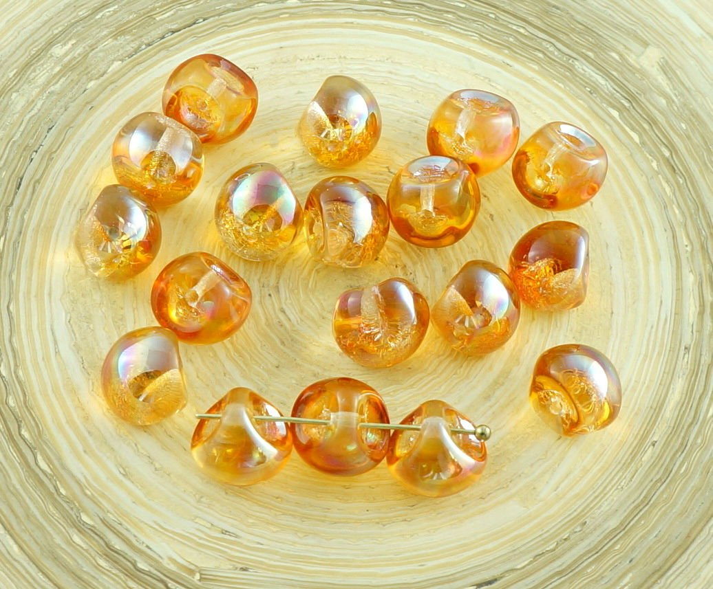 12pcs Large Mushroom Button Czech Glass Beads 9mm x 8mm