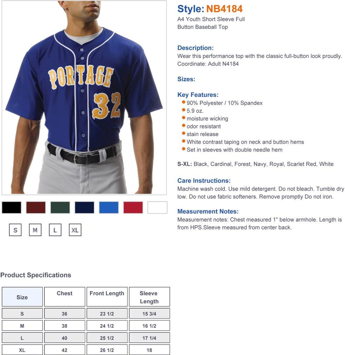 A4 NB4184 Youth Short Sleeve Full Button Baseball Top