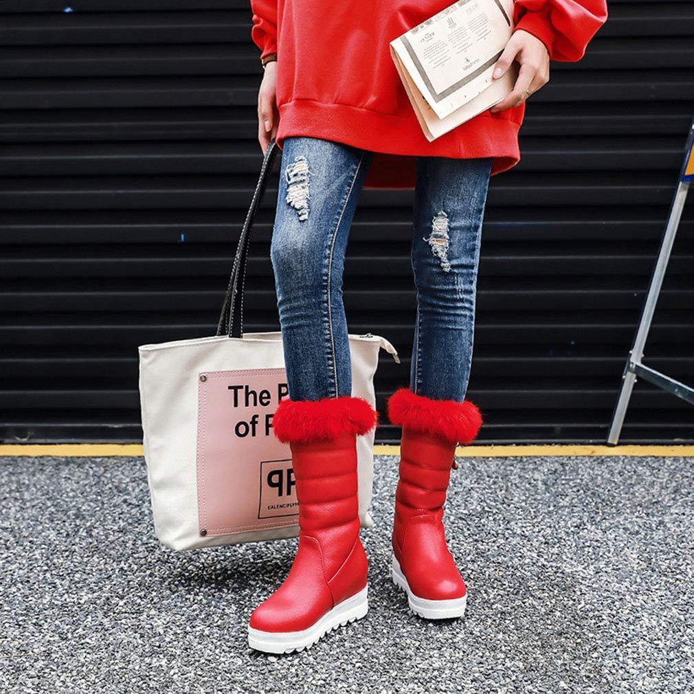 Hy 2018 Winter Frauen Schnee Stiefel Stiefel Winter Künstliche Künstliche Künstliche PU Flache Stiefelies Dicken Boden Warme Große Größe Mitte Stiefel Outdoor Ski Schuhe (Farbe   Rot Größe   36) 9b37bb