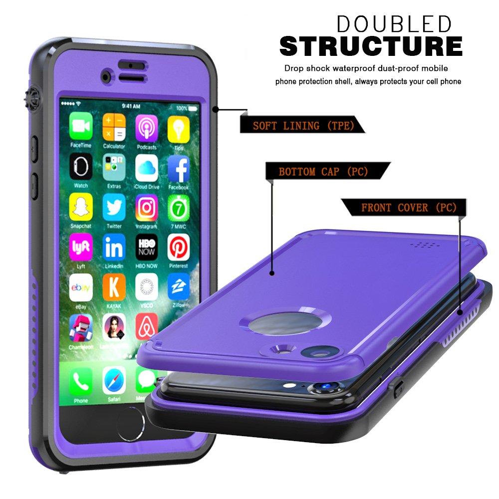 iPhone 7//8 Funda,Certificado IP68 Funda Impermeable Estuche Subacu/ático Delgado Anti-Nieve Anti-Choque Completo Protecci/ón con Respuesta T/áctil para iPhone 7//8 Blanco Yadasaro